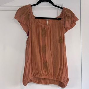 Free People Orange and Gold Embroidered Top